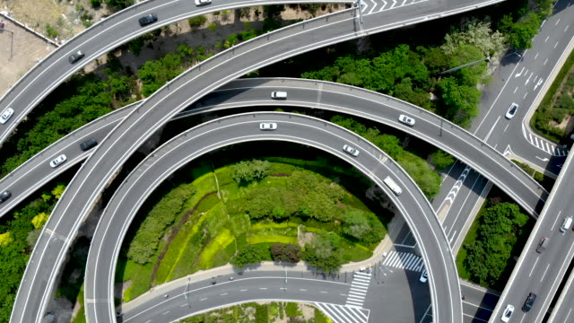 top view of road intersection - beijing stock videos & royalty-free footage