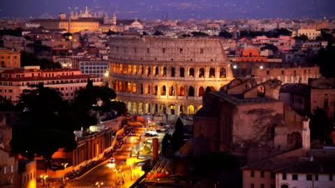 top view of  rome city skyline with colosseum from castel sant'angelo - rome italy stock videos & royalty-free footage