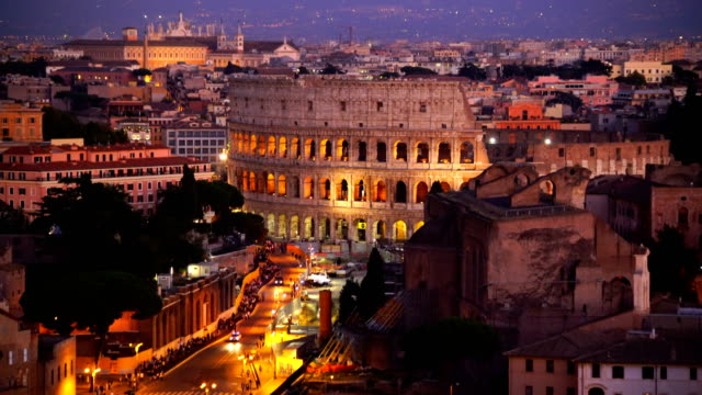 top view of  rome city skyline with colosseum from castel sant'angelo - rome italy stock videos and b-roll footage