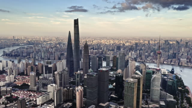 top view of shanghai at dusk - lujiazui stock videos & royalty-free footage