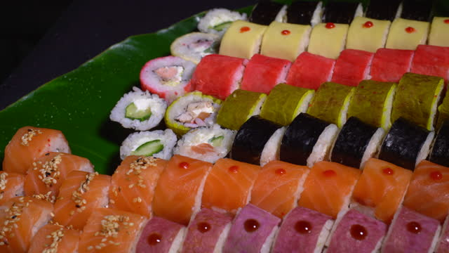 top view of sushi roll - japanese food stock videos & royalty-free footage