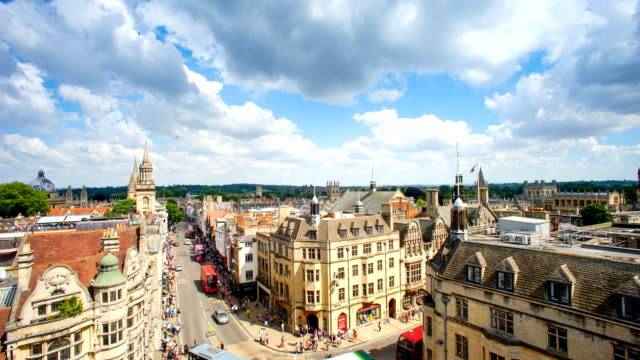 top view of the city of oxford, england, uk time lapse - oxford england stock videos and b-roll footage