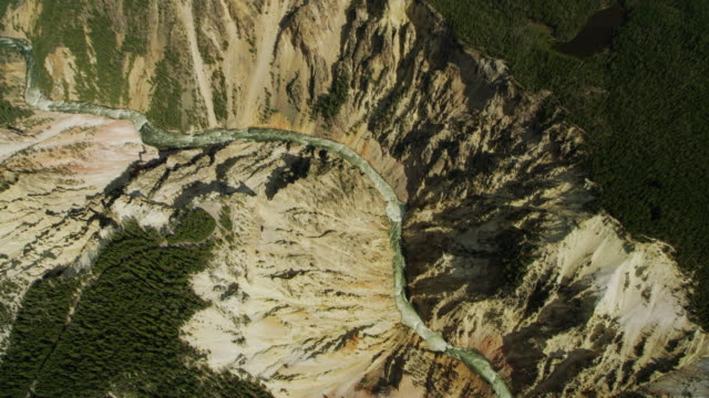 top view of the grand canyon of the yellowstone - river yellowstone stock videos & royalty-free footage