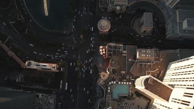 top view of the las vegas strip at sunset - las vegas replica eiffel tower stock videos & royalty-free footage