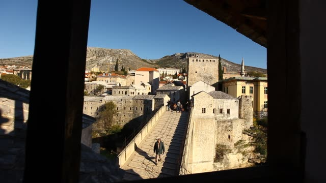 top view of the mostar old bridge 2 - religious symbol stock videos & royalty-free footage
