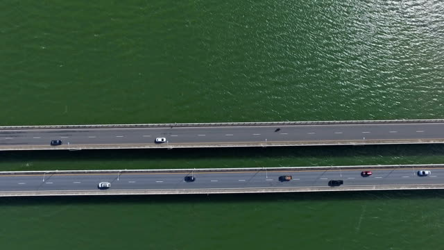 top view of transportation traffic on bridge - songkhla province stock videos and b-roll footage