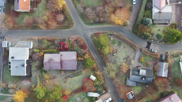 top view of villa area. frost on ground - sweden stock videos & royalty-free footage
