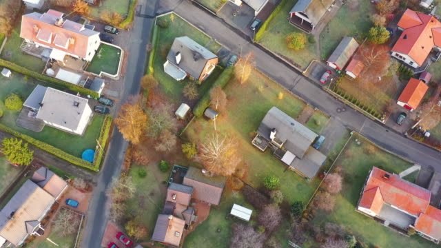 top view of villa area. frost on ground - geographical locations stock videos & royalty-free footage