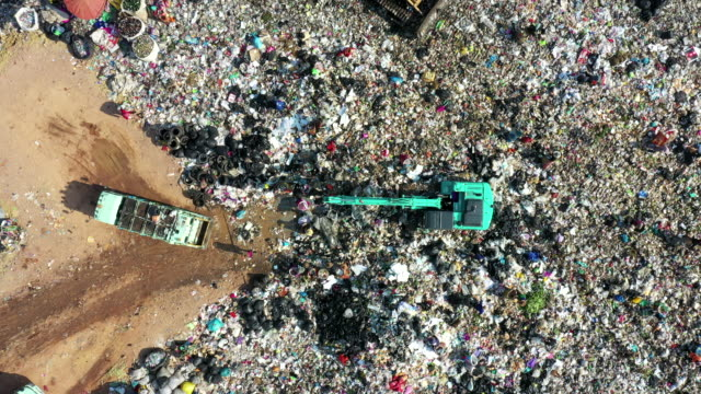 top view of waste management landfill with garbage - landfill stock videos & royalty-free footage