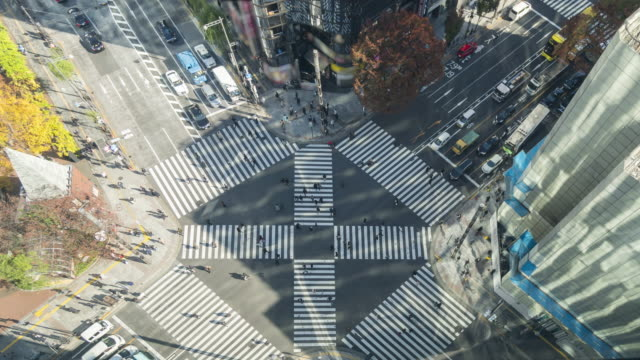 top view of zebra crossing at ginza, tokyo - tall high stock videos & royalty-free footage
