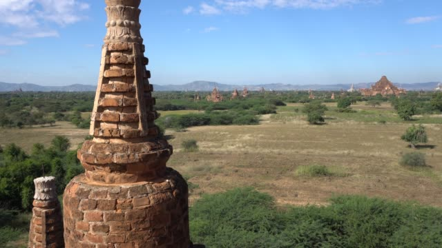 top view  old pagoda or stupa  bagan mandalay myanmar - myanmar video stock e b–roll