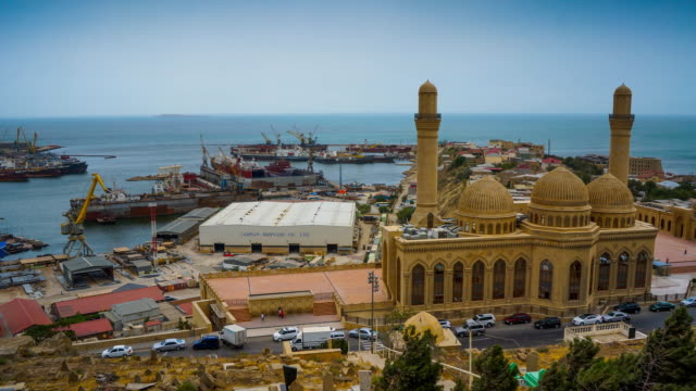 tl top view on the bibi-heybat mosque and harbor / azerbaijan, baku - shi'ite islam stock videos & royalty-free footage