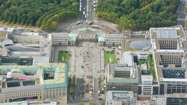 WS AERIAL ZO top View over Brandenburg Gate / Berlin, Germany