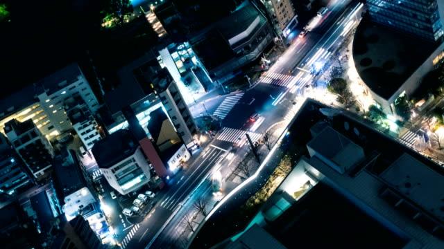 4K T/L MS HA: Top View spitsuur verkeer op de doorsnede van de binnenstad / Tokyo, Japan