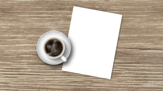 top view wood table with hot black coffee and white paper - table top view stock videos & royalty-free footage