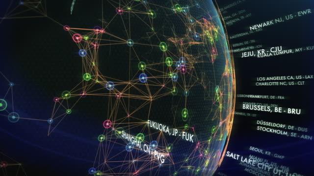 vídeos de stock e filmes b-roll de top world airports with cities and iata codes - orientação conceito