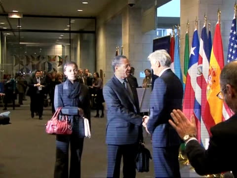 top world officials gathered in montreal monday for emergency talks to hash out plans to rebuild haiti, nearly two weeks after a killer earthquake... - quebec stock videos & royalty-free footage