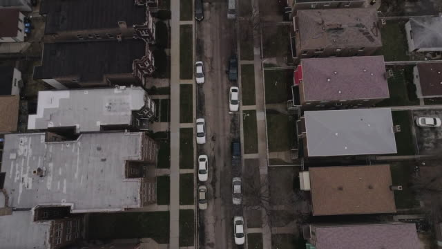 top-down aerial of chicago slum - slum stock videos & royalty-free footage