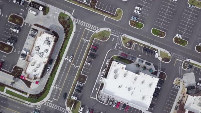 top-down aerial of savannah parking lot - savannah georgia stock videos & royalty-free footage