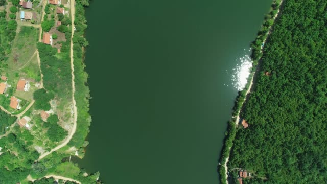 top-down shot of a lake, footpath and forest around it aerial view - trefferversuch stock-videos und b-roll-filmmaterial