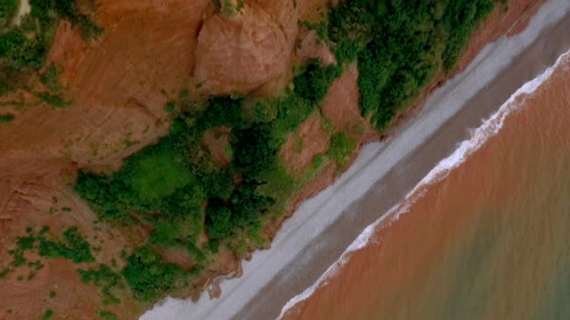 top-down view showing cliff on jurassic coast - steep stock videos & royalty-free footage