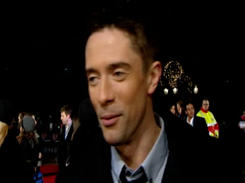 topher grace , about why people invest emotion in a 2 hour film at the valentine's day european premiere at london england. - topher grace stock videos & royalty-free footage