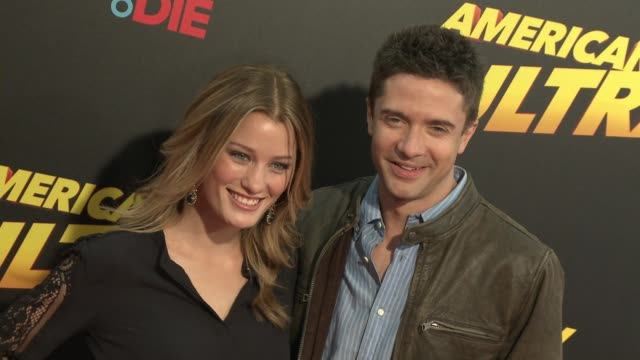 "topher grace and ashley hinshaw at the ""american ultra"" los angeles premiere at the theatre at the ace hotel on august 18, 2015 in los angeles,... - topher grace stock videos & royalty-free footage"