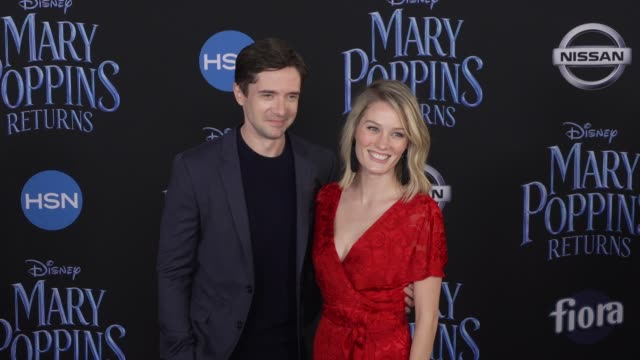 topher grace and ashley hinshaw at the disney's mary poppins returns world premiere at dolby theatre on november 29 2018 in hollywood california - topher grace stock videos & royalty-free footage