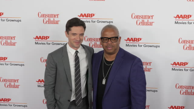 topher grace and terence blanchard at the 18th annual movies for grownups awards at the beverly wilshire four seasons hotel on february 04, 2019 in... - フォーシーズンズホテル点の映像素材/bロール