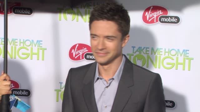 topher grace at the 'take me home tonight' premiere at los angeles ca. - topher grace stock videos & royalty-free footage