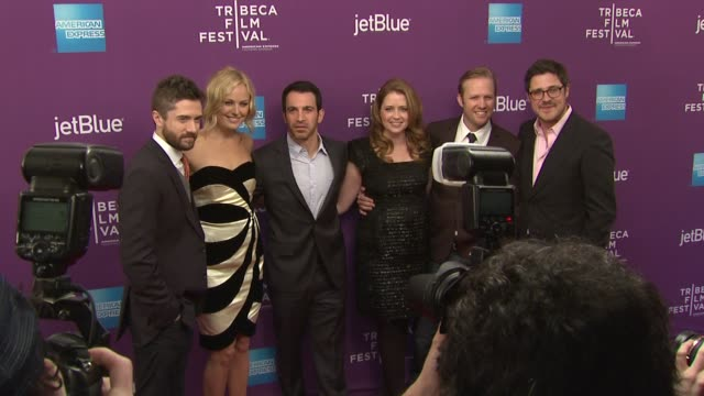 "topher grace, malin akerman, chris messina, jenna fascher, lee kirk and rich sommer at 2012 tribeca film festival - ""giant mechanical man"" premiere... - topher grace stock videos & royalty-free footage"