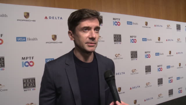 topher grace on the benefits of mptf, the event and entertainment community at the 8th annual reel stories, real lives event benefiting mptf - on... - topher grace stock videos & royalty-free footage