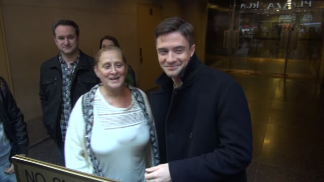 topher grace promoting 'truth' leaving the 'today' show signs for & poses for photos with fans in celebrity sightings in new york, - topher grace stock videos & royalty-free footage