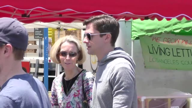 topher grace shopping at the farmers market in studio city in celebrity sightings in los angeles - topher grace stock videos and b-roll footage