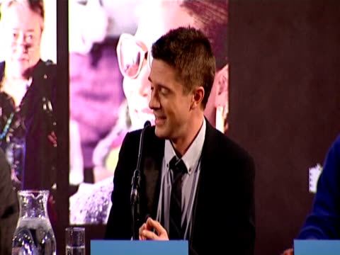 topher grace talks about the most romantic thing he has ever done, he jokes about a hooker he met at the valentine's day press conference at london... - topher grace stock videos & royalty-free footage