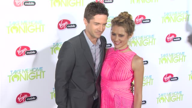 topher grace, teresa palmer at the 'take me home tonight' premiere at los angeles ca. - topher grace stock videos & royalty-free footage
