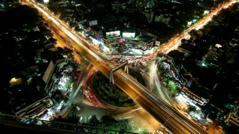 toppish shot of central mumbai traffic - dadar circle - india stock videos & royalty-free footage