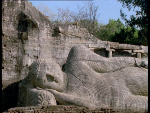 toque macaques walk past reclining buddha statue, polonnaruwa - temple building stock videos & royalty-free footage
