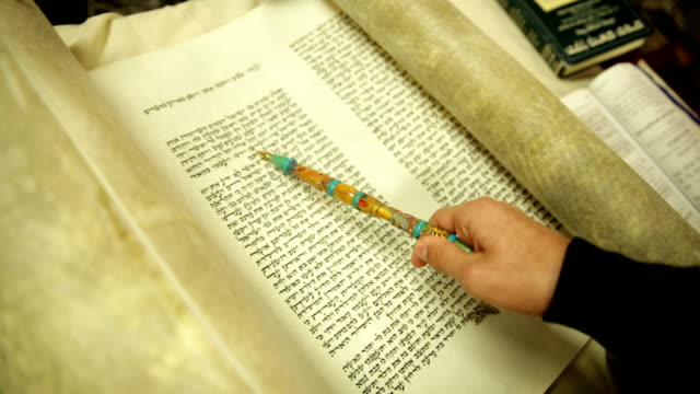 torah scroll and pointer - torah stock videos and b-roll footage