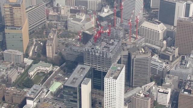 aerial, toranomon area, tokyo, japan - minato ward stock videos & royalty-free footage