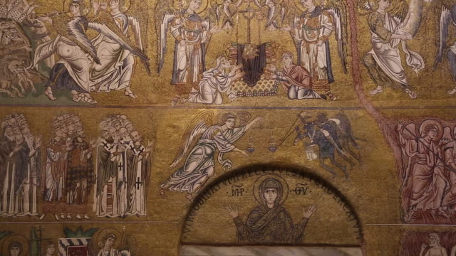 stockvideo's en b-roll-footage met torcello island, cathedral of santa maria assunta, close up of the west's wall mosaic, the last judgment - basiliek