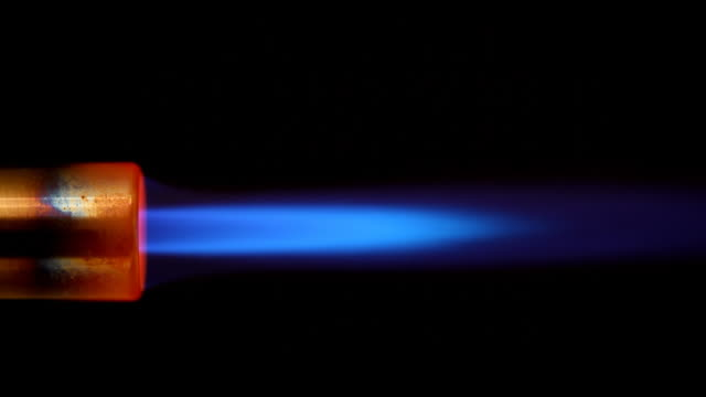 HD torch blue flame over black