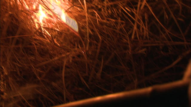 a torch lights dead grass on fire on mount wakakusa during an annual tradition in japan. - flaming torch stock videos & royalty-free footage
