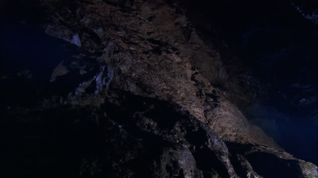 """torch lights up rocky cave wall, cornwall, uk - """"bbc natural history"""" stock videos & royalty-free footage"""