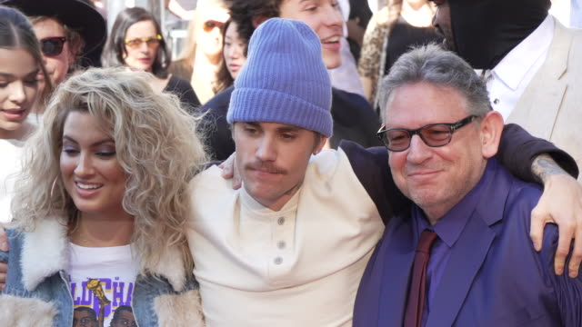 tori kelly justin bieber and sir lucian grainge at sir lucian grainge honored with a star on the hollywood walk of fame on january 23 2020 in... - justin bieber stock videos & royalty-free footage