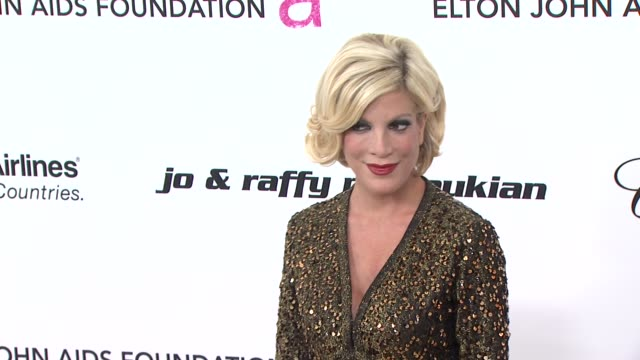 tori spelling at the 19th annual elton john aids foundation academy awards viewing party at west hollywood ca - tori spelling stock videos and b-roll footage