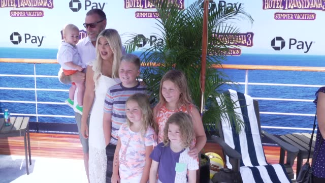 "tori spelling at the ""hotel transylvania 3: summer vacation"" world premiere at regency village theatre on june 30, 2018 in westwood, california. - tori spelling stock videos & royalty-free footage"