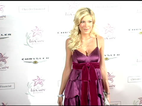 tori spelling at the lili claire foundation's 7th annual benefit gala hosted by matthew perry at the century plaza hotel in century city california... - tori spelling stock videos and b-roll footage