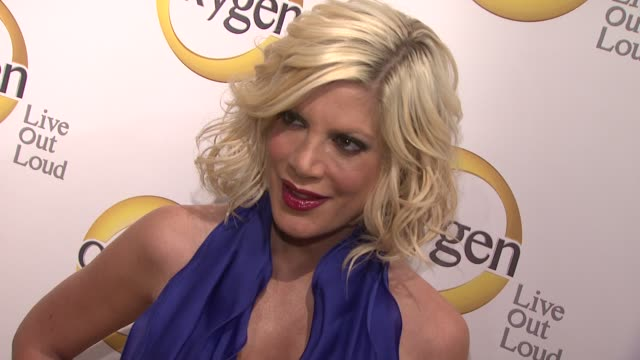 tori spelling at the oxygen media's 2011 upfront presentation at new york ny - tori spelling stock videos and b-roll footage