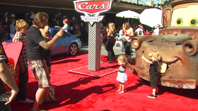 tori spelling, dean mcdermott and family at the disney/pixar celebrates the launch of the world of cars online at burbank ca. - tori spelling stock videos & royalty-free footage